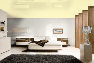 Лимонный шифон - цвет глянцевого натяжного потолка в интерьере