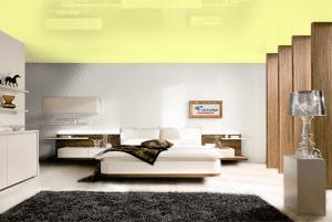 Хаки - цвет глянцевого натяжного потолка в интерьере
