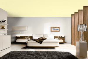 Лимонный шифон - цвет матового натяжного потолка в интерьере