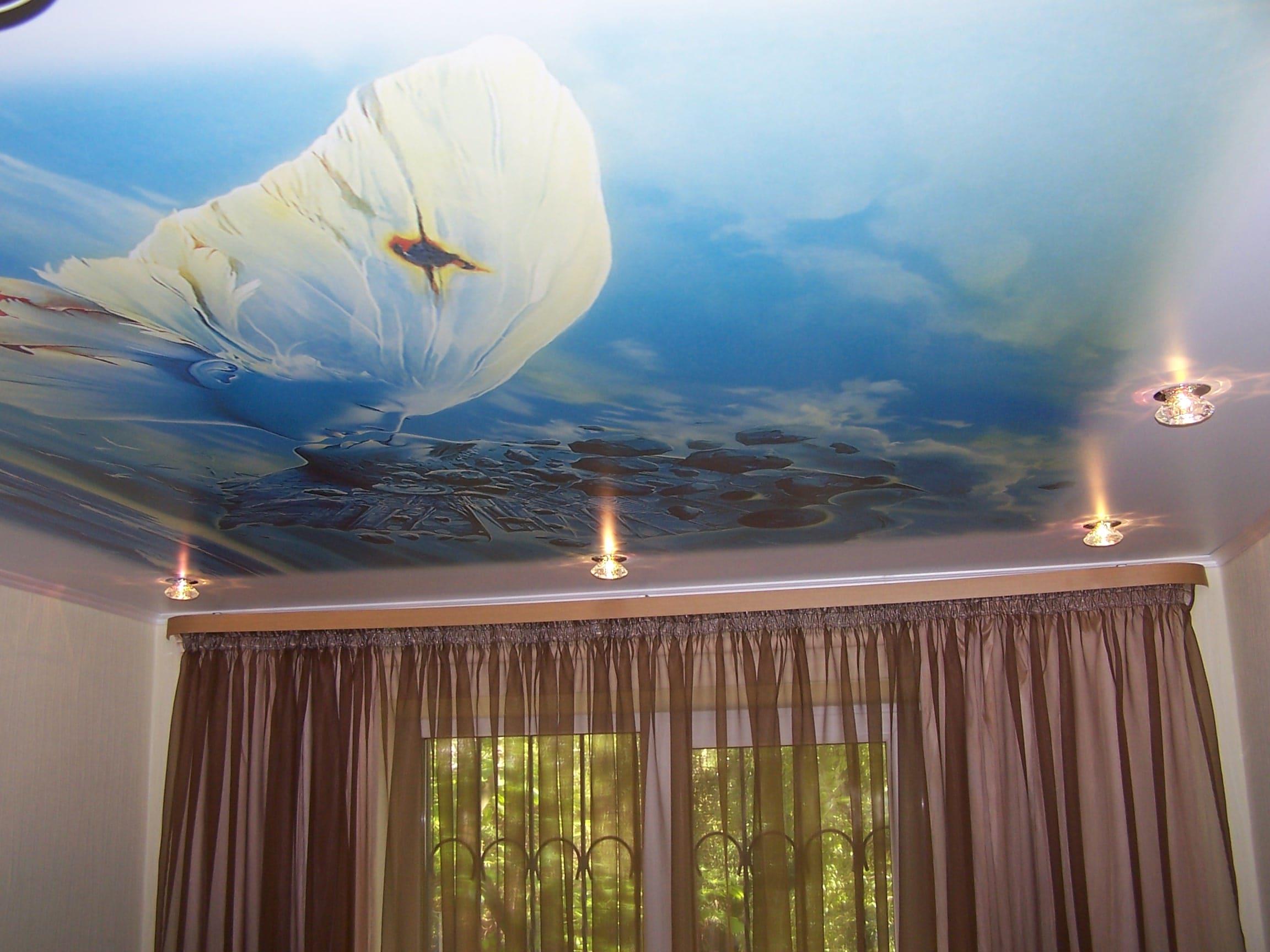 Натяжной потолок с фотопечатью Бабочка