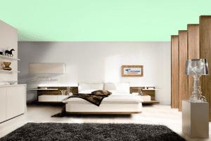 Бирюзовый - цвет матового натяжного потолка в интерьере