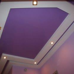 Двухуровневый фиолетовый натяжной потолок - галерея работ Строй Комфорт