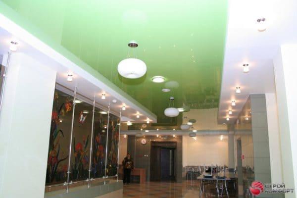 Двухуровневый зеленый натяжной потолок - галерея работ Строй Комфорт