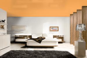 Оранжевый - цвет сатинового натяжного потолка в интерьере