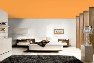 Оранжевый - цвет матового натяжного потолка в интерьере