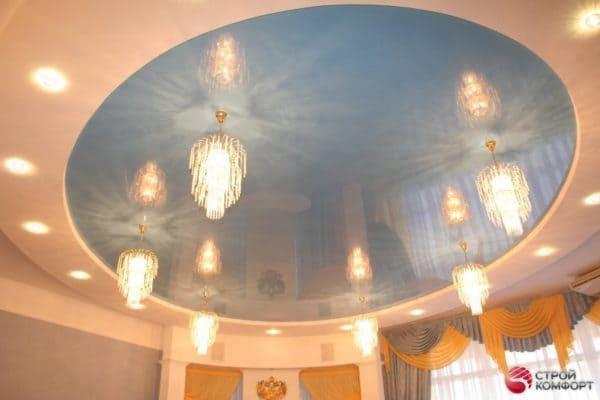 Двухуровневый круглый натяжной потолок - галерея работ Строй Комфорт