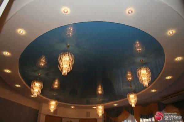 Двухуровневый круглый синий натяжной потолок - галерея работ Строй Комфорт