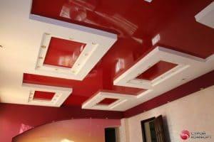 Двухуровневый красный с белым натяжной потолок - галерея работ Строй Комфорт