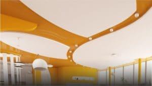 Двухуровневый белый оранжевый натяжной потолок