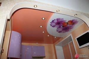 Натяжной потолок с фотопечатью Цветы - галерея Строй Комфорт