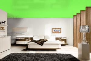 Газон - цвет сатинового натяжного потолка в интерьере