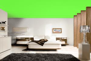 Газон - цвет матового натяжного потолка в интерьере