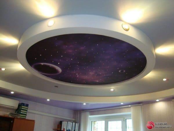 Круглый натяжной потолок Звездное небо - галерея Строй Комфорт
