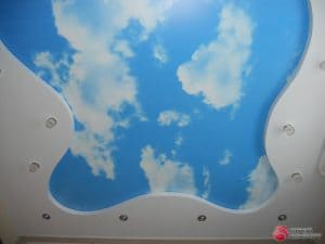 Фигурный натяжной потолок Небо и облака - галерея работ Строй Комфорт