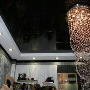 Двухуровневый черный потолок - галерея работ Строй Комфорт