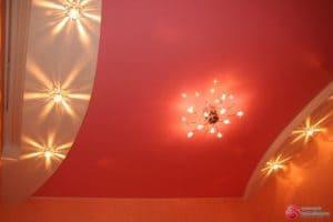Многоуровневый розовый натяжной потолок - галерея Строй Комфорт