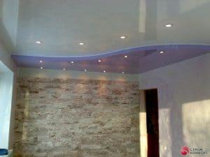 Двухуровневый глянцевый натяжной потолок - сиреневый с белым - галерея Строй Комфорт