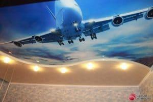 Натяжной потолок с фотопечатью Самолет - галерея Строй Комфорт