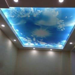 Натяжной потолок с фотопечатью Облака на небе - галерея Строй Комфорт