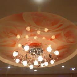 Натяжной потолок с фотопечатью Цветы в круге - галерея Строй Комфорт