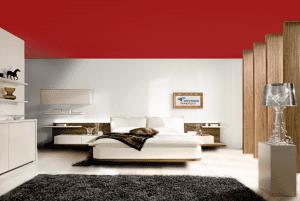 Темный красный - цвет матового натяжного потолка в интерьере