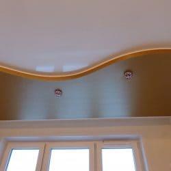 Двухуровневый натяжной потолок матовый с сатиновым - галерея Строй Комфорт