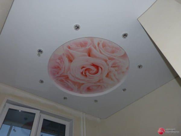 Натяжной потолок с круглой фотопечатью Цветы - Строй Комфорт