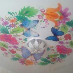 Натяжной потолок Бабочки - галерея Строй Комфорт