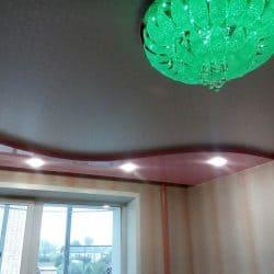 Двухуровневый натяжной потолок черный с розовым - галерея работ Строй Комфорт