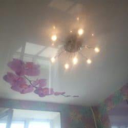 Белый натяжной потолок с фотопечатью цветы - галерея работ Строй Комфорт