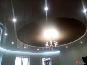 Круглый натяжной потолок со светильниками - галерея работ Строй Комфорт