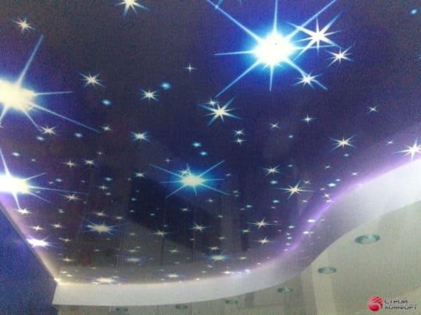 Натяжной потолок со светильниками Звездное небо - галерея работ Строй Комфорт