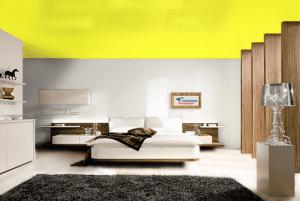 Желтый - цвет сатинового натяжного потолка в интерьере