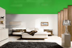 Зеленый - цвет сатинового натяжного потолка в интерьере