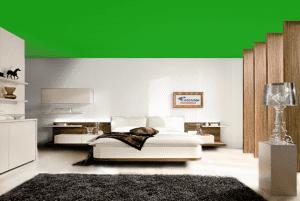 Зеленый - цвет матового натяжного потолка в интерьере