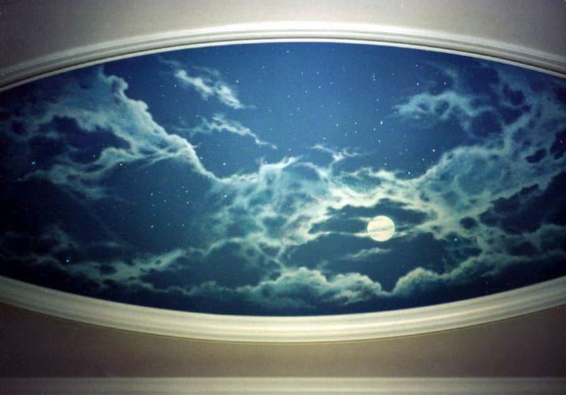 Натяжной потолок Ночное небо в овальной рамке